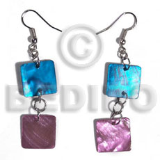 Dangling double 15mm square hammershell Shell Earrings