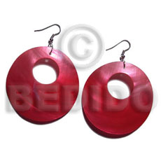 dangling red round 35mm kabibe shell  14mm hole - Shell Earrings