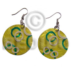 hand made Dangling 30mmx1335mm yellow capiz Shell Earrings