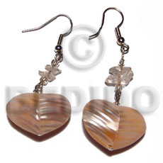dangling rounded back to back heart 25mm shell/ orange tones - Shell Earrings