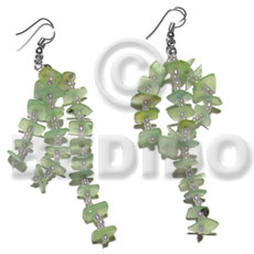 Dangling mint green sq. cut Shell Earrings