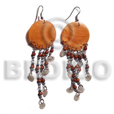 dangling 30mm orange round capiz shell  tiny oval hammershells accent - Shell Earrings
