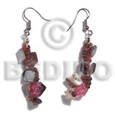 hand made Dangling rainbow hammersqhell sq. cut Shell Earrings