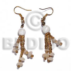dangling glass beads and buri nuggets  troca shell beads - Shell Earrings