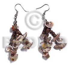 Dangling buri tiger seeds Shell Earrings