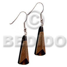 Dangling 40mmx15mm 3 sided brownlip Shell Earrings