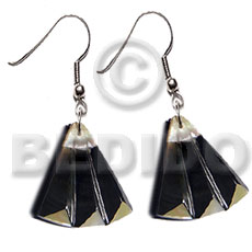 Dangling 35mmx37mm laminated mop blacktab accordion Shell Earrings