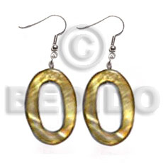 Dangling 30mmx20mm oval laminated high Shell Earrings