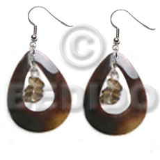 dangling 35mmx30mm teardrop blacktab ring  crystal nuggets accent - Shell Earrings