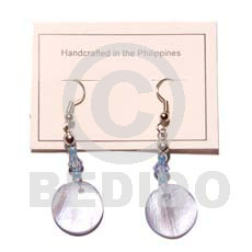 Dangling round 25mm aqua blue Shell Earrings