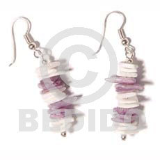 Dangling white rose dyed Shell Earrings