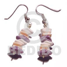 Dangling white rose dyed lilac Shell Earrings