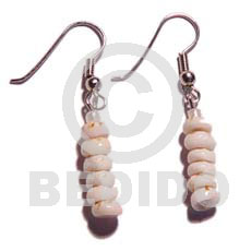 Dangling grinded tiger puka earrings Shell Earrings