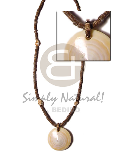 hand made 2-3mm coco heishe brown nassa alt. Shell Necklace