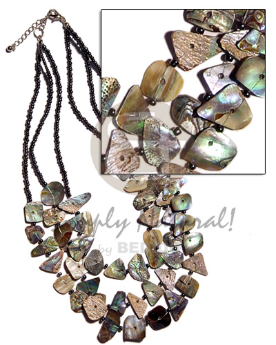 3 rows multilayered paua Shell Necklace