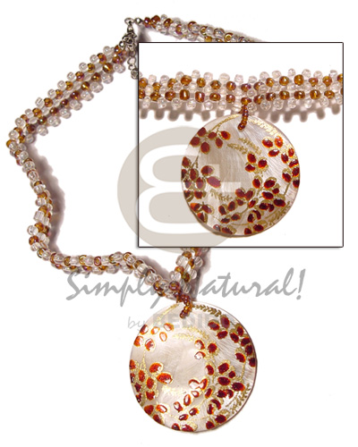 Clear brown glass beads Shell Necklace