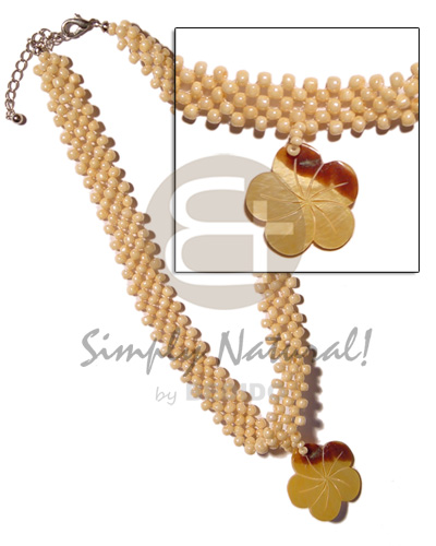 35mm mop flower skin Shell Necklace