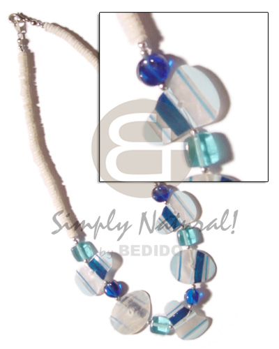 Painted striped capiz crystals Shell Necklace