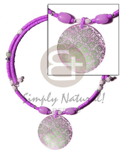 Lilac 2-3mm coco heishe wire Shell Necklace