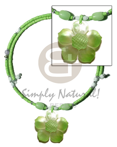 Neon green 2-3mm coco heishe Shell Necklace