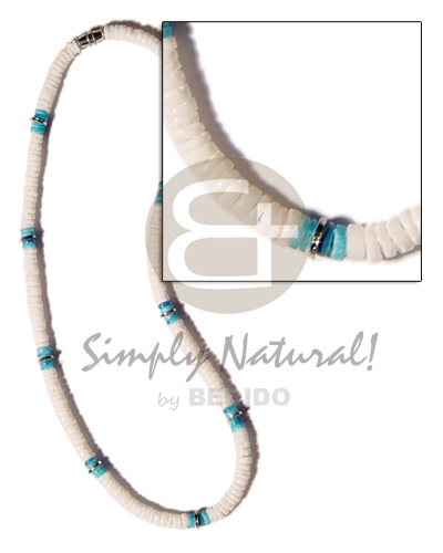 Aqua blue white clam combination Shell Necklace