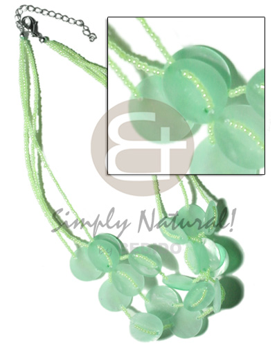 3 rows pastel green glass Shell Necklace