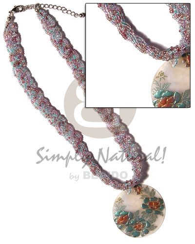 Intertwined flat glass beads choker Shell Necklace