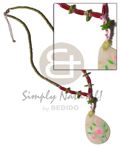 2-3mm olive green coco heishe Shell Necklace