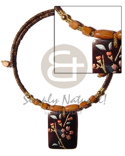 2-3mm coco heishe natural brown Shell Necklace