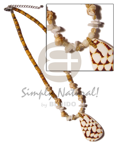 hand made 4-5mm orange hammershell heishe Shell Necklace