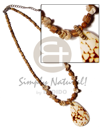hand made 2-3mm coco pokalet tiger Shell Necklace