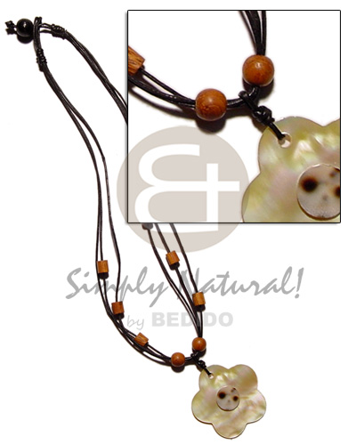 3 layer wax cord Shell Necklace