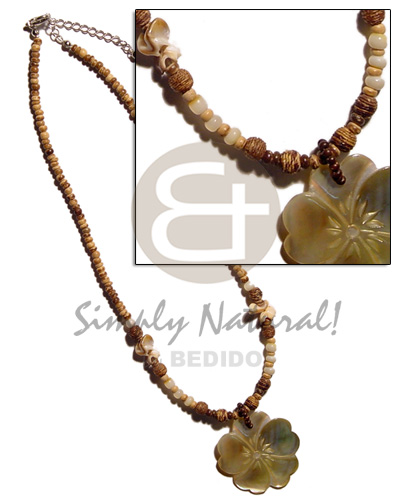 2-3mm coco pokalet.tiger chocolate Shell Necklace