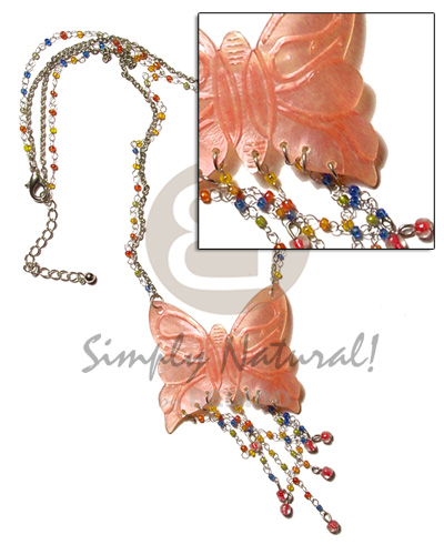 Tassled orange 50mm butterfly hammershell Shell Necklace