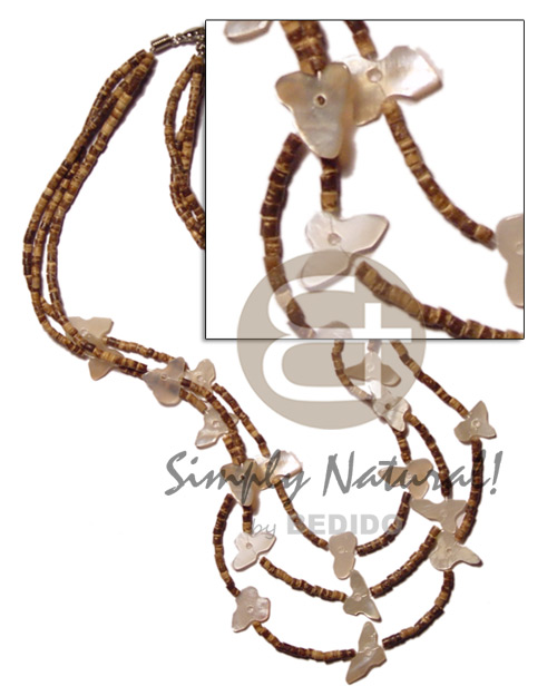 Graduated 3 layer 2-3mm coco Shell Necklace