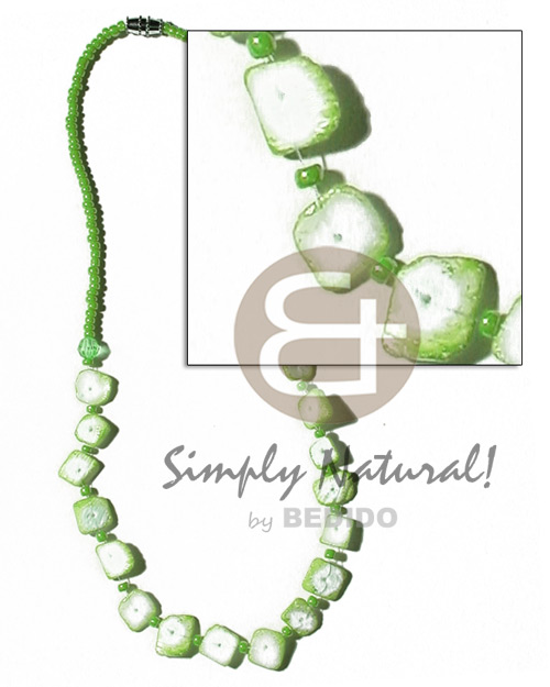 Floating colored white rose in Shell Necklace