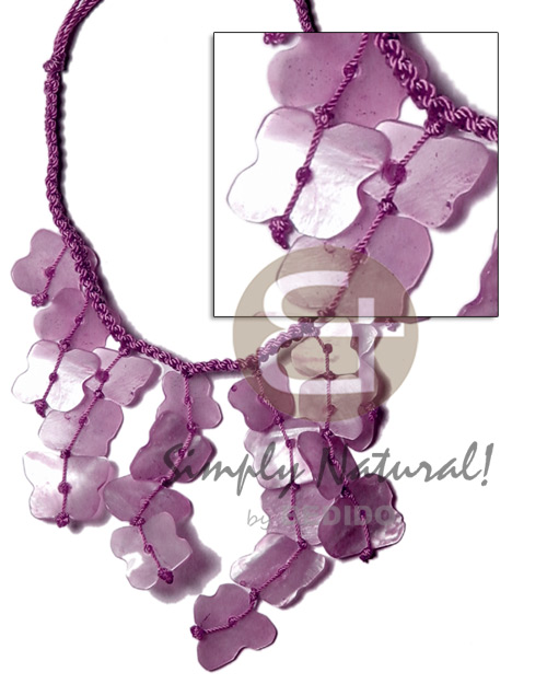 Subdued lavender macrame dyed Shell Necklace