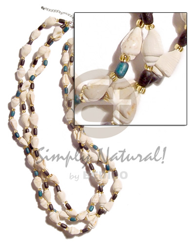3 layer nassa tiger Shell Necklace