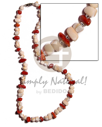 Luhuanus mosaic red corals Shell Necklace
