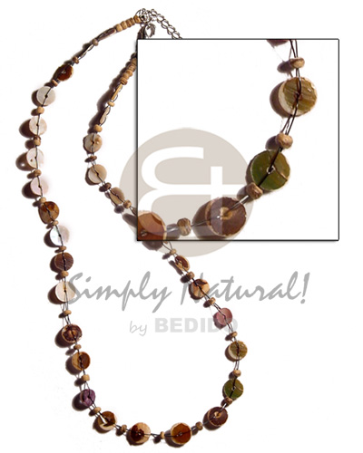 Floating green shell heishe Shell Necklace