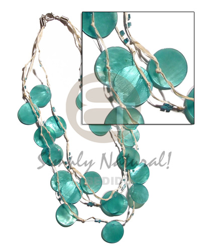3 rows raffia in graduated Shell Necklace