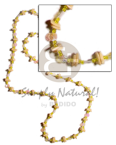 hand made 36 in. continuous yellow white Shell Necklace