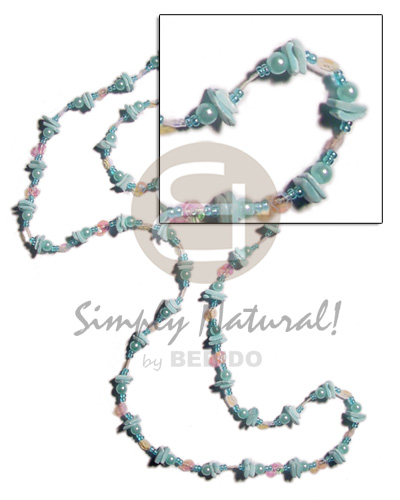 36 in. continuous powder blue Shell Necklace