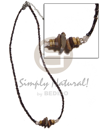hand made Glass beads brownlip chunks Shell Necklace