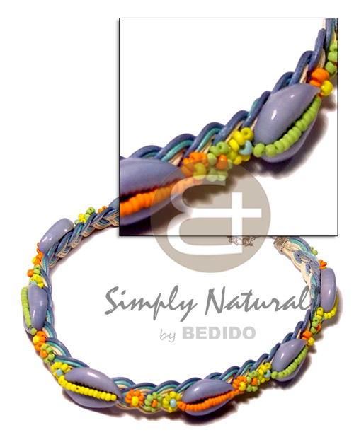 Colored sigay in wax cord Shell Necklace