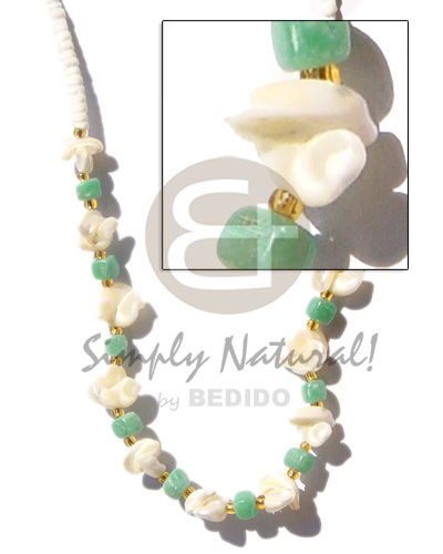 hand made 3-4mm heishe white clam Shell Necklace