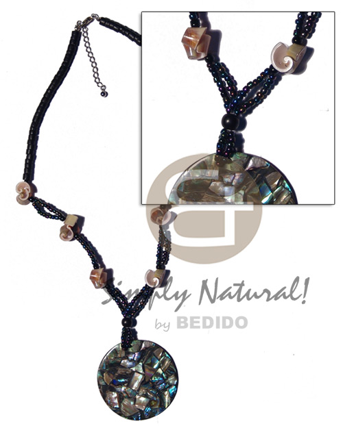 4-5mm coco heishe black glass beads everlasting Shell Necklace