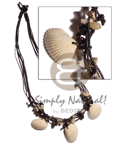 3 layers black wax cord Shell Necklace