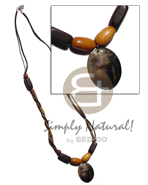 Bamboo wax cord wood beads Shell Necklace