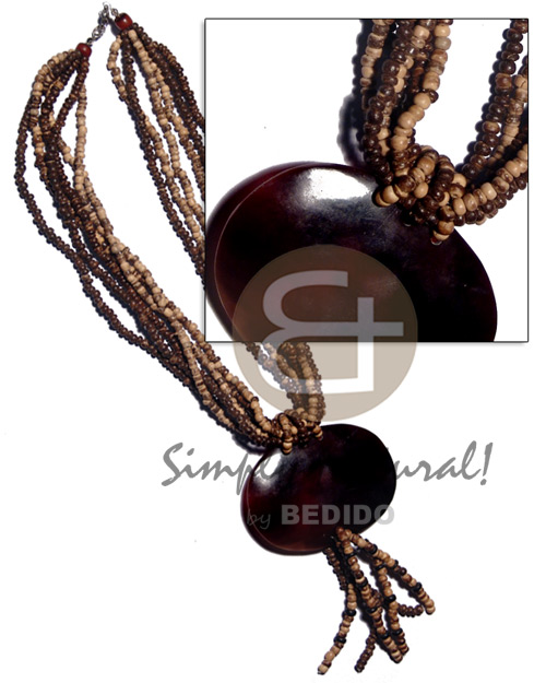 Tassled 6 layers natural brown Shell Necklace